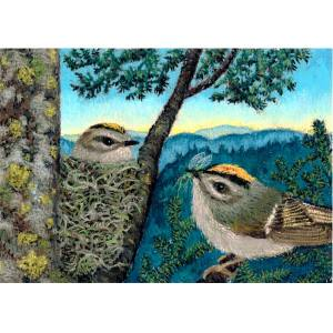 Breakfast for Golden-crowned Kinglets, a pastel painting by Stephanie Thomas Berry