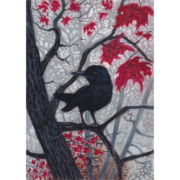 Trickster in Fog and Red Leaves, a pastel painting by Stephanie Thomas Berry