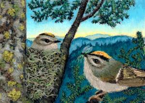 Breakfast of Kinglets, a pastel by Stephanie Thomas Berry featuring a female Golden-crowned Kinglet on her nest and the male bringing her some breakfast with the sun rising in the background with mountains