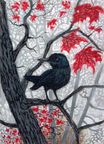 Trickster in Fog and Red Leaves, a pastel by Stephanie Thomas Berry featuring a crow and the last red maple leaves of Autumn