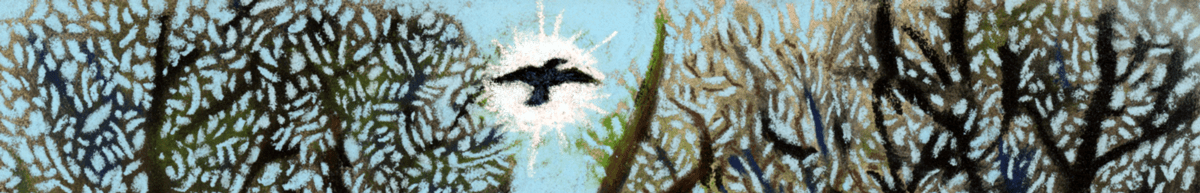 A slice of Raven and Spring Beauties, a pastel by Stephanie Thomas Berry