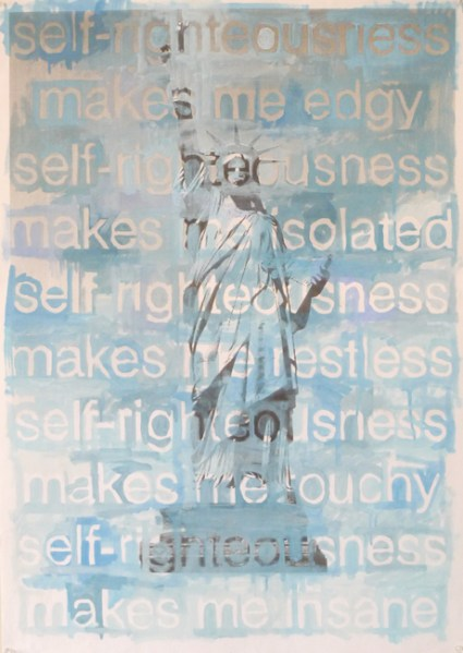 self-righteousness, 2011, oil on printed paper