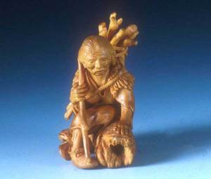 """The Old Ones Gather Firewood"" Netsuke"