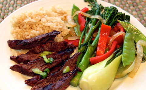 Skirt steak brown rice and vegetables