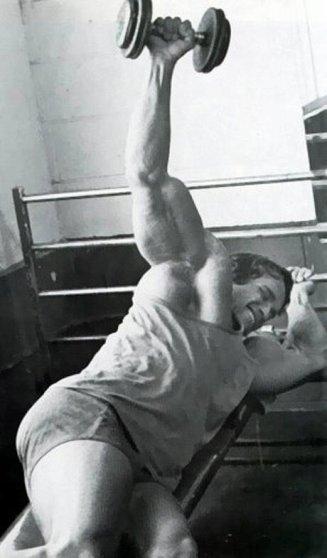 Arnold Schwarzenegger doing lying lateral reaises