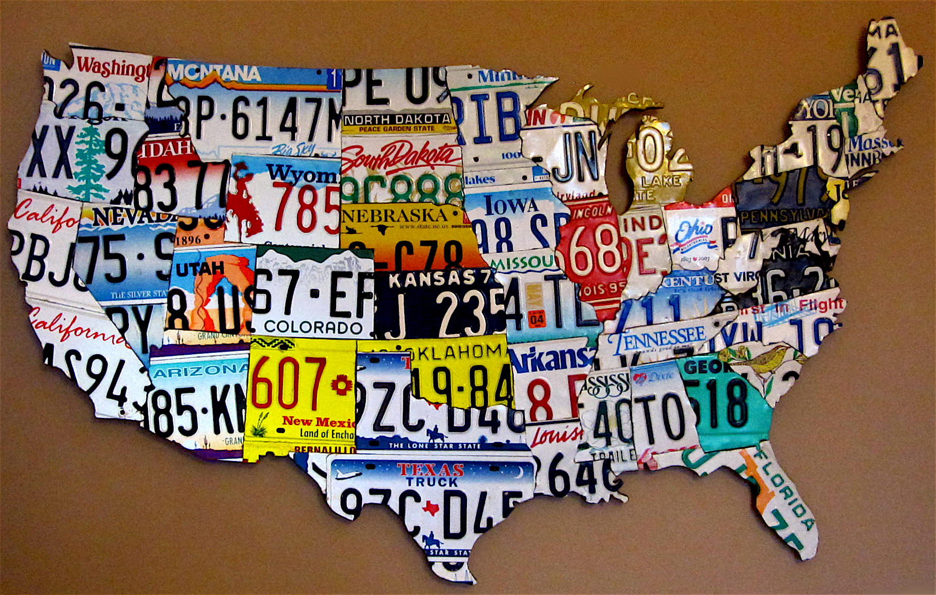 License Plate Map Of The Usa On Gray Reclaimed Wood Vintage - Us map with license plates