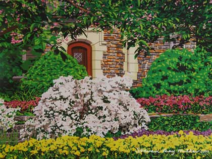 Duke Gardens in Bloom limited edition lithograph by Steven Ray Miller Durham NC artist