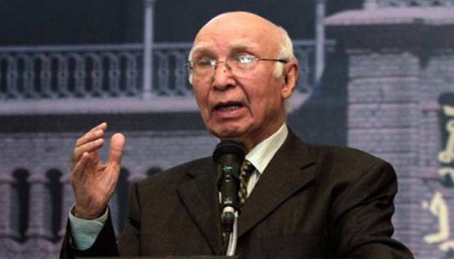 पाकिस्तान में अमेरिका ने मुजाहिद्दीन तैयार किये, जिसकी वजह से हमारे देश में अस्थिरता है: सरताज अजीज