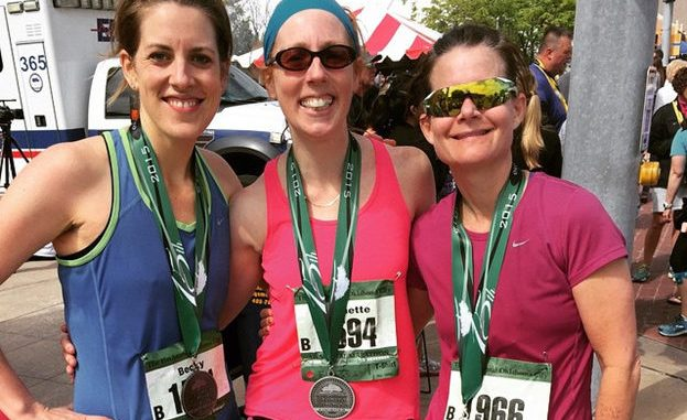 Becky Taylor, Jeanette Mendez, Rachel Shreffler after completing the OKC Marathon in 2015.