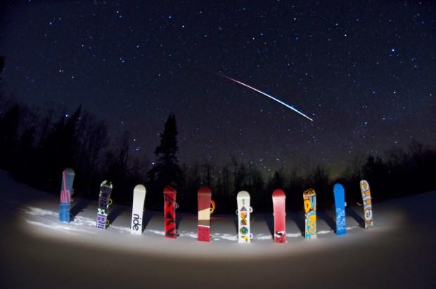 Snowboards Under the Skies
