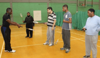 Badminton coach Wayne Bridge teaching participants at the Sobell Centre (Image Credit: Elfrida Society)