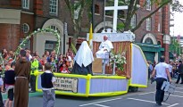 One of the many floats from a recent Italian procession in Clerkenwell (Image Credit: Silvia Maresca)