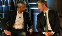 Khan and Goldsmith debating, Photo credit Daniel Leal-Olivas PA