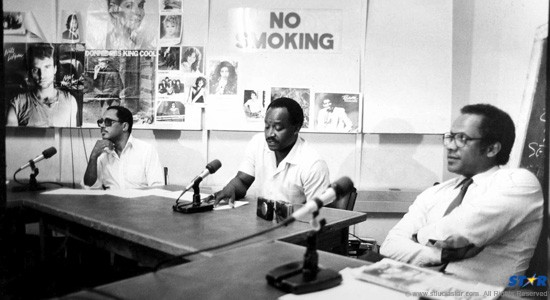 Education Minister Louis George (l) with Health Minister Romanus Lansiquot. Though close friends and cabinet colleagues, they clashed more than once publicly.