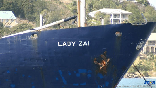 The Lady Zai has been quarantined since its arrival at a Vieux-Fort Port.