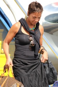 Chef Nina Compton as she disembarked an American Airlines flight at Hewanorra Airport Sunday