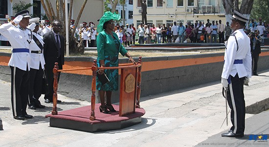 Governor General Dame Pearlette Louisy inspecting the guard of honour  outside the House of Parliament on Tuesday.