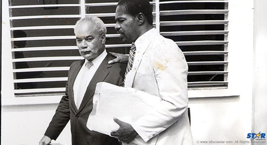 "Former DPP Dale Hamilton (nearest camera) with Keneth Monplaisir QC: A long time ago Hamilton defined ""gang"" before a Saint Lucia court!  (Circa 1990)"