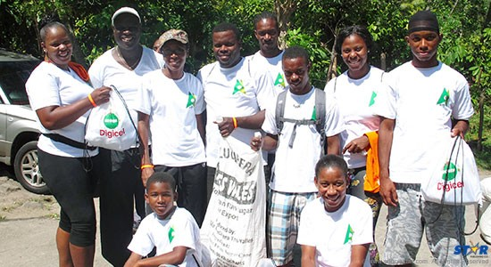 Team Digicel with Go Greeb backpacks at Gros Piton Nature Trail.