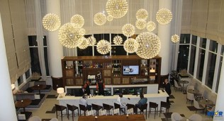 A view from the top: one of the interior bars at the Marriott.