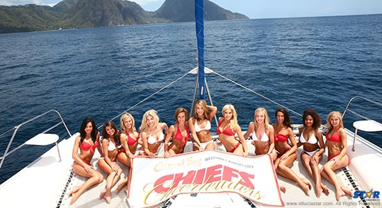 The Kansas City Chiefs Cheerleaders during their last visit to Saint Lucia.