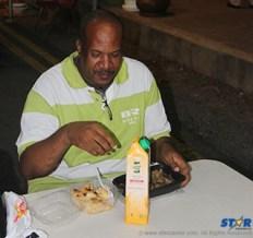 Jerry George enjoys dinner on the strip.