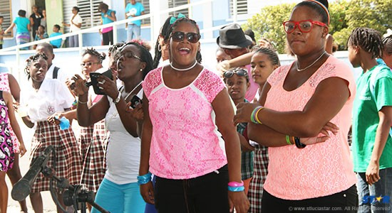The students of the Gros Islet Secondary School showed their appreciation for the performers at the school's Jazz wind down event.