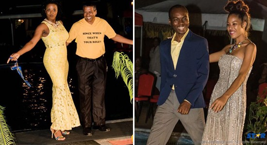 Left: Guy Joseph displays his role on the catwalk. Right: Dominic Fedee, a UWP hopeful at the upcoming general elections, escorts a model.