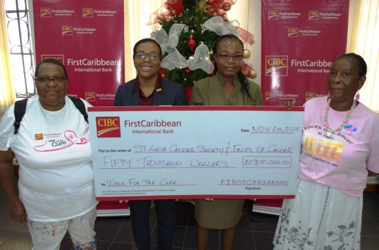 L-R: Catherine Gustave Treasurer of Faces of Cancer, Ladesa James-Williams CIBCFCIB Country Manager, Lisa Louis of St. Lucia Cancer Society and Juliette Simon of Faces of Cancer.