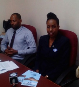 Pastor Lucius Philip (director) and Vanessa Julien (president Ushers Ministry) at a press conference on Tuesday.