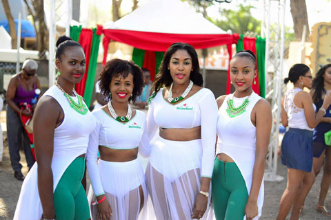 The Heineken ladies welcoming guests to be pampered at the VIP Gold Pass Pavilion at Pigeon Island.