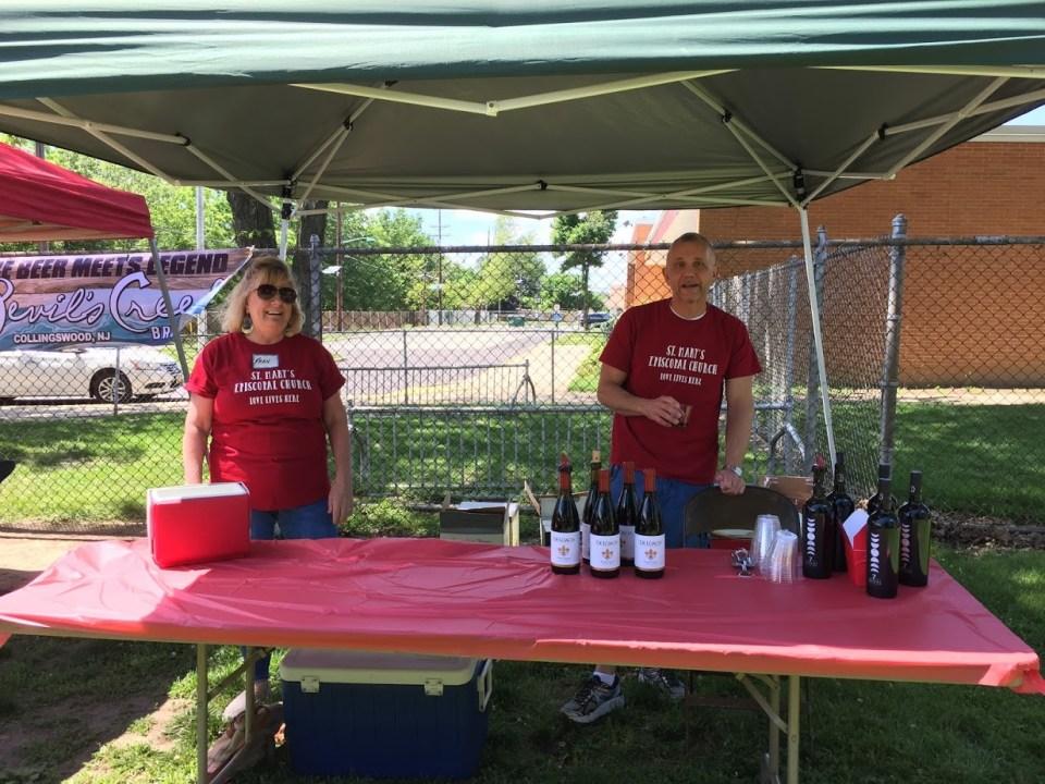 Sampling at the wine tent.