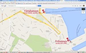 карта портов в Стокгольме, куда приплывают паромы из Риги, Хельсинки, Турку, Таллина