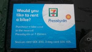карточка для аренды велосипеда в Стокгольме