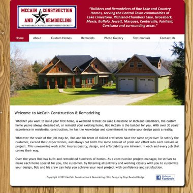 Web Design for McCain Construction and Remodeling