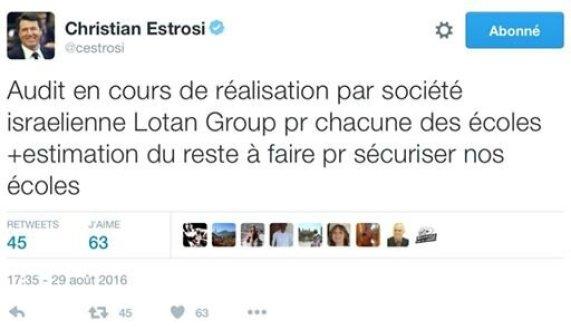 estrosi tweet ecole securité israel