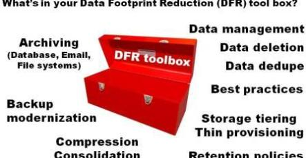 Data footprint reduction (DFR) techniques and technologies