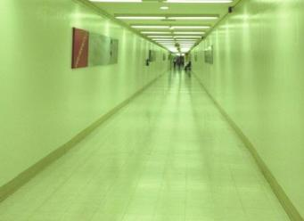 Underground hallway connecting LAX terminals, path to the clouds