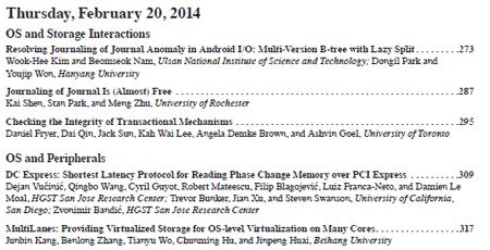 USENIX FAST 2014 Proceedings Index part 3