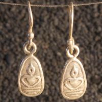 Hill tribe silver Buddha earrings
