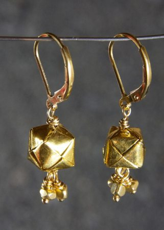 Gold Plated Woven Basket Earrings