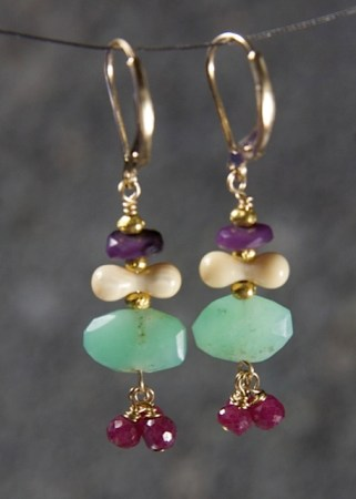 Purple sugilite, wooly mammoth tusk, chrysoprase and ruby dangles
