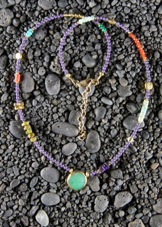Sugilite necklace with chrysoprase bezel