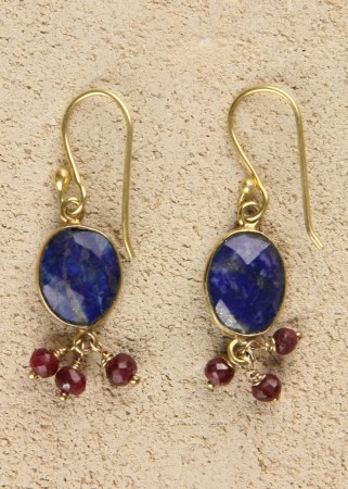 Lapis with 3 Ruby Dangle
