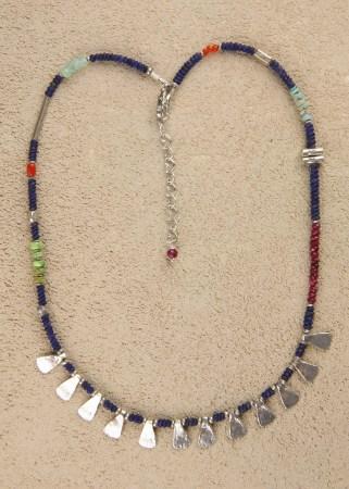 Lapis Triangular Teeth Necklace