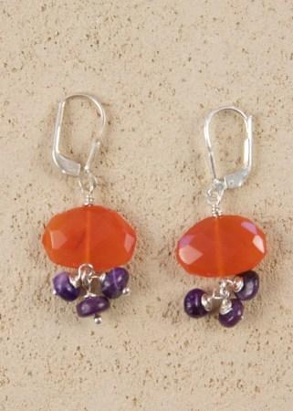 Silver Oval Carnelian Earrings with Sugiite Dangles