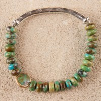 Turquoise Cyclops Silver Elastic Bracelet