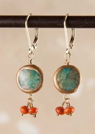 Turquoise Round Earrings with 3 Apple Coral beads