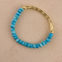 Blue Turquoise Gold Stretch Bracelet