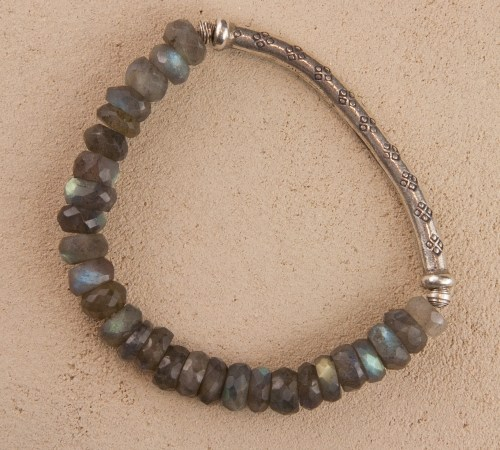 Labradorite Silver Stretch Bracelet